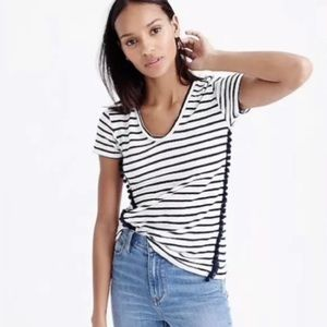J.Crew Linen White & Navy Striped Tee With Pompoms